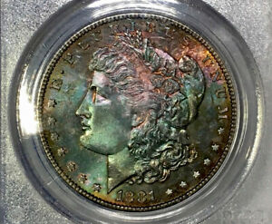 1881-S Morgan Dollar PCGS MS63 CAC Colorful Emerald Peach Red Rainbow Toned