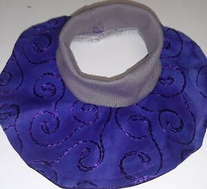 CAT SHOW BIB Purple Satin Stretch Ribbed Knit Slip Over Neck Adult Size