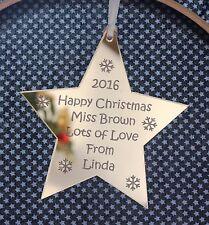 Personalised Teachers  Christmas Star Decoration GOLD MIRROR