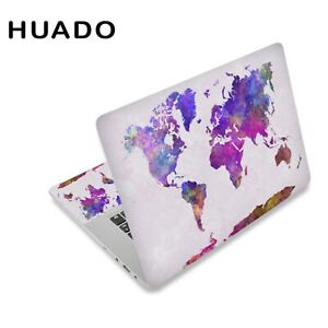 World Map Laptop Skin Decal Sticker Cover PVC Notebook Reusable Macbook Protect