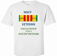 USS GALVESTON  CLG-3 * SOUTH VIETNAM* VIETNAM VETERAN RIBBON 1959-1975 SHIRT
