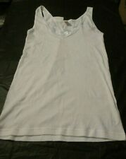Ladies Naturana 100% White Cotton Vest with Lace Detail Size Large (Style 2501)