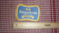 1950s AUSTRIAN BEER LABEL, BRAUEREI BURGERBRAU INNSBRUCK AUSTRIA, LAGER