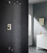 "Brushed Nickel Rain Shower Bath Faucet Set Mixer Valve 8"" ShowerHead Tub Faucet"