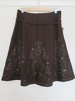 Next Linen chocolate brown skirt sequins embroidery Brand new size 12 euro 40