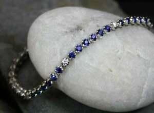 11.20Ct Round Cut Blue Sapphire & Diamond Tennis Bracelet 14K White Gold Finish