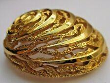 Rare broche bijou vintage superbe signé TRIFARI dôme gravé couleur or poli 3200