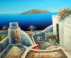 Greek Isle Home Patio Aegean Sea Resort 20X24 Oil Painting By Hand STRETCHED
