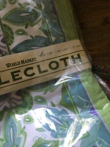 World Market Tablecloth 60x90 WHITE & GREENS - NEW IN PACKAGE