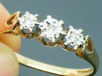 9ct Gold  Diamond Trilogy Hallmarked Ring size O