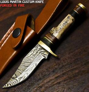 Louis Martin Handmade Damascus Steel Stag Antler Hunting Skinner Knife