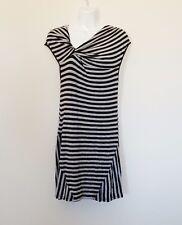 Athleta Pahala Womens Dress Sz SP Black Gray Striped Stretch Knotted Dress