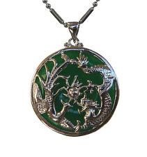 Jade Dragon Phoenix Pendant with Chain