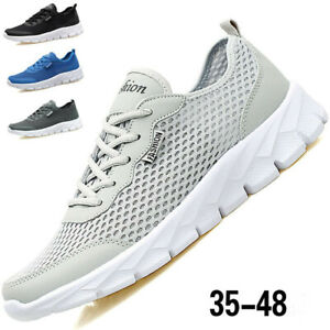 Men's Lace Up Sneakers Sports Breathable Shoes Athletic Mesh Casual Gym Trainers