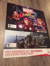 Rare- Marvel Vs. Capcom / Monster Hunter World 24x28 In.  Cardboard Promo Poster