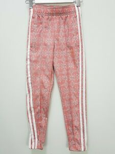 ADIDAS Girls Size 5 - 6 Glow Pink / Light Solid Grey Allover Print Track Pants