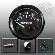 "Oil / Water temp gauge dial black bezel temp sensor 40-120c 52mm/ 2"" universal"