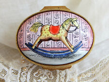 Halcyon Days Enamel Over Copper Hinged Trinket Box by Tiffany &Co -Rocking Horse