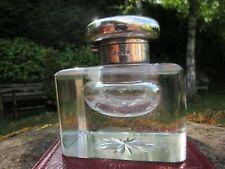 Silver Topped Cut Glass Desk Inkwell London 1921/22 Star Cut Bottom VGC+