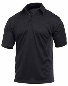 NEW! Rothco Tactical Performance Men's Black Moisture Wicking Polo Shirt 3912