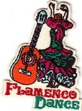 """""""FLAMENCO DANCE"""" - SPANISH - SPAIN - MUSIC - GUITAR - Iron On Embroidered Patch"""