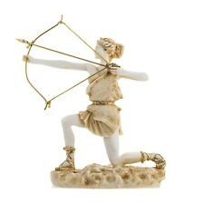 "Goddess Artemis Diana Greek Statue Nature Moon Gold Tone Alabaster 9.25"""