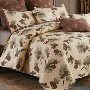 FOREST PINES 3pc Full Queen QUILT SET : LODGE PINECONE CABIN BROWN TREES FOREST