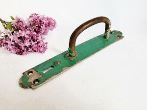 Vintage Metal Door Handle with Plate Steel Old Pull Interior Decor Hardware
