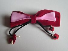 Broche en Tissu NOEUD PAPILLON Rouge et Rose neuve