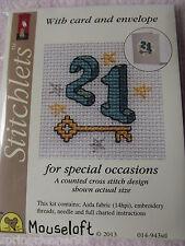Mouseloft stitchlets PUNTO CROCE KIT ~ 21st ~ Compleanno Biglietto & Busta ~ NUOVO