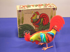 Vintage Wind-up Tin Rooster Toy~Pecks @ the Ground and Hops Around~FREE SHIPPING