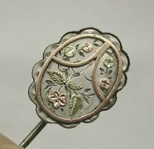 Victorian Lovely Coloured Gold And Silver Stick Pin