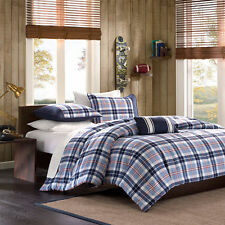 COZY NAVY BLUE WHITE GREY RED PLAID STRIPE BOYS COMFORTER QUILT SET FULL ,TWIN