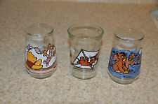 Lot of 3 Welch's Jelly Jar Glasses  Tom & Jerry, Winnie The Pooh, Lion King  II
