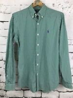 Ralph Lauren 100% Cotton Button Down Green Striped Shirt Men's Size Medium