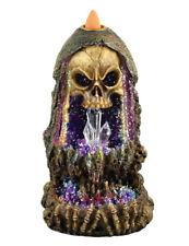 """Geode Skull Back Flow Incense Burner w/ LED - 6.5"""""""