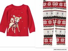 NEW GYMBOREE HOLIDAY REINDEER Top And  Leggings  Outfit  NWT  SIZE 2T