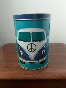 VW Campervan Print Round Metal Storage Tin. Blue/ green / white. 14cm tall.