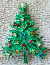 1970s Vintage Christmas Tree Pin Brooch Faceted Stones