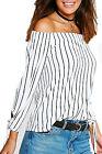 Ladies Tie Sleeve Off Shoulder Plain Striped Cuffed Swing Top Blouse Bardot
