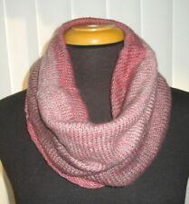 Winter Infinity Scarf Pullover Knit Single Loop Tube Infinity Hoodie Cowl Pink