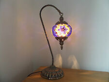 Turkish Lamp Swan Hand Made Moroccan Table Mosaic Colourful Glass Blue Star
