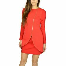TED BAKER LONDON WOMEN'S EDLYN SLASH NECK ZIP FRONT TUNIC RED SIZE 1 MSRP275