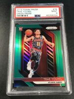 TRAE YOUNG 2018 PANINI PRIZM #78 GREEN REFRACTOR ROOKIE RC PSA 9 HAWKS NBA (B)