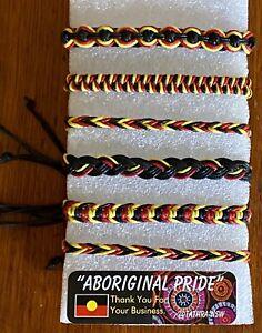 6 X Aboriginal / Koori  🖤💛❤️ Adjustable Bracelets Aboriginal Pride BLM  6 Pcs