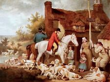 A PUB ALE BREAK FOXHUNTING ALEHOUSE REST HORSE ART PAINTING REAL CANVAS PRINT