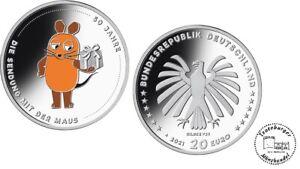BRD 20 Euro 2021 50 Jahre Sendung mit der Maus 925er Silber *ST*