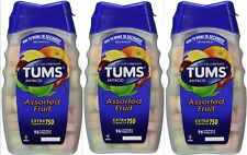 TUMS Antacid EXTRA STRENGTH 750mg, Assorted Fruit 96ct ( 3 pack ) - EXP: 02/2023