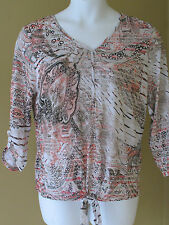 Chico's Paisley Stripes V-Neck Tie Front Top 3/4 Sleeves Caliente Coral 2