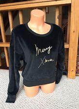 Sonia Rykiel Paris Velvet Black Top Merry Xmas Crewneck Made France S